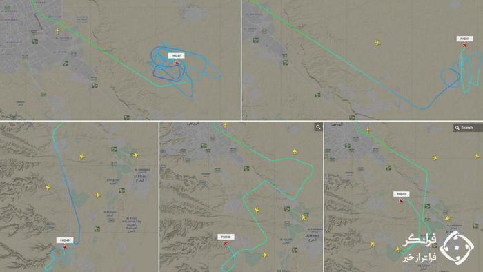 پروازهای غیرعادی ۱۰ هواپیما در آسمان عربستان + عکس