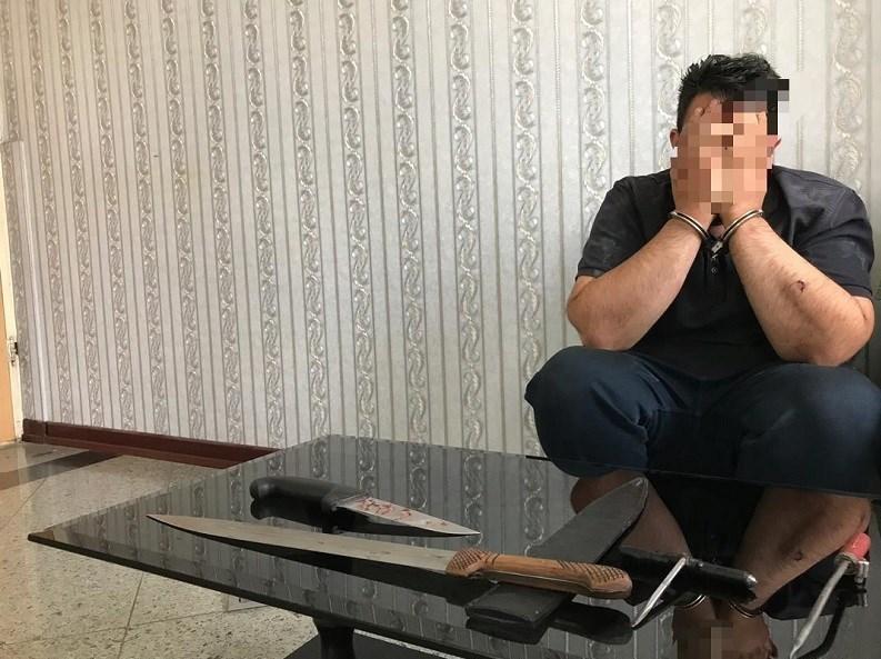 شرور سابقهدار با چاقو به جان پلیس افتاد + عکس